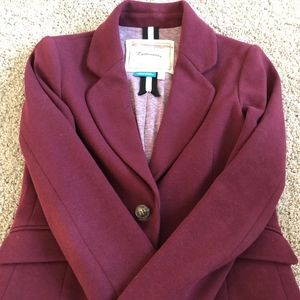 Anthropologie Burgundy Ponte Blazer - Sz 0